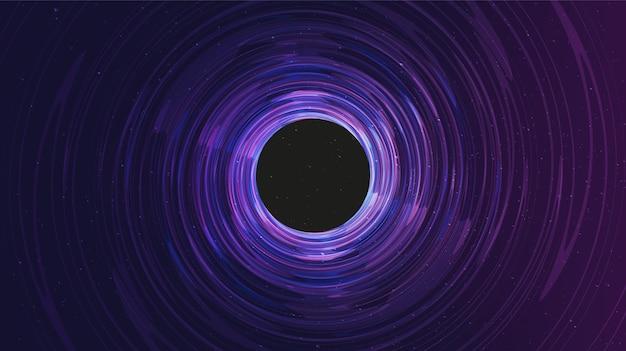 Trou noir en spirale ultra-violette sur fond de galaxie.planète et conception de concept de physique.