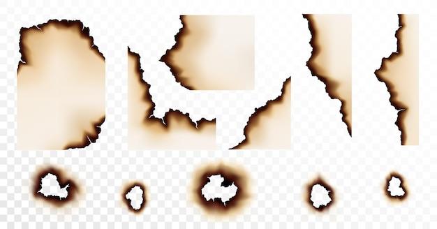 Trou de papier brûlé, bords et coins de page. papier ou parchemin détruit avec des bordures fissurées et sales.