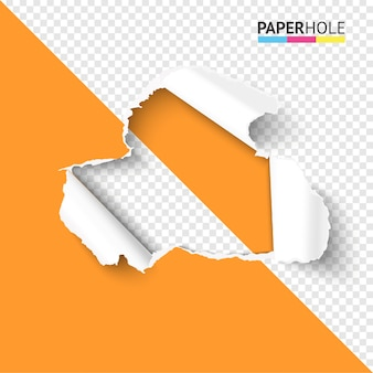 Trou de papier déchiré sur la moitié fond transparent concept coloré à vendre promo
