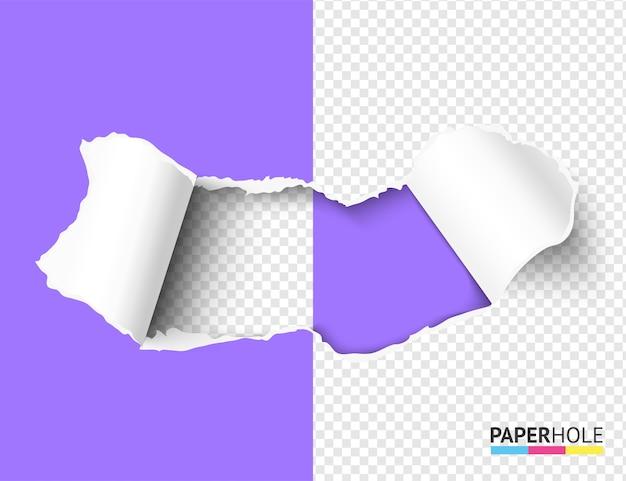 Trou de papier déchiré à moitié vierge avec bord déchiré.