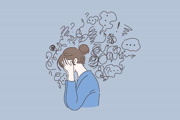 Trouble mental, trouver des réponses, concept de confusion