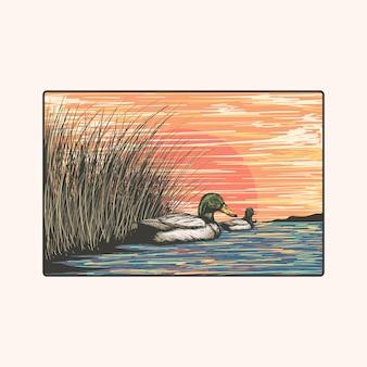 Un troupeau de canards nageant dans le marais