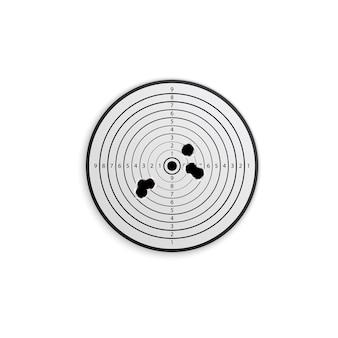 Les trous de balle cible une composition réaliste sur blanc avec une cible en papier avec des trous