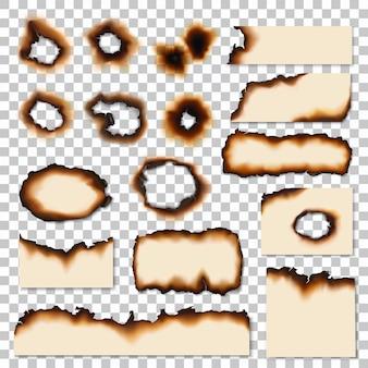 Trous et bords brûlés des morceaux de feuille de papier