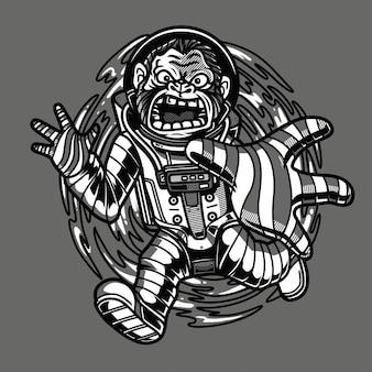 Trous noirs aspirés illustration noir et blanc