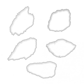 Trous de papier déchirés blancs
