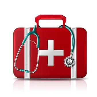 Trousse d'aide aux premiers secours avec stéthoscope isolé