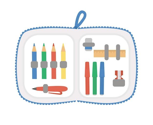 Trousse à crayons ouverte de vecteur avec papeterie. retour à l'école clipart éducatif