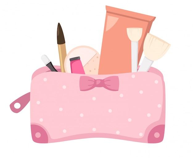 Trousse de maquillage avec des cosmétiques, illustration