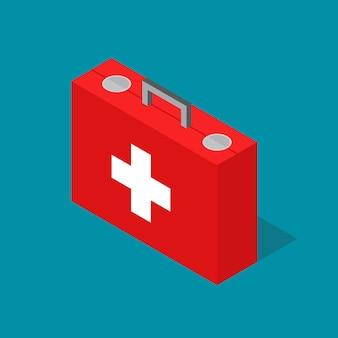 Trousse de premiers soins de cas médical vue isométrique style design aide d'urgence santé. illustration vectorielle
