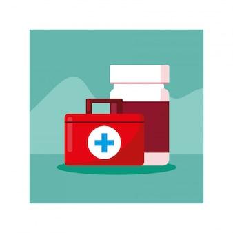 Trousse de premiers soins médicale, journée santé