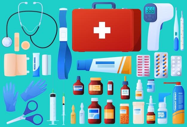 Trousse de premiers soins, stéthoscope, bandages, injections, pilules, gouttes, ampoules, médicaments, gants stériles.