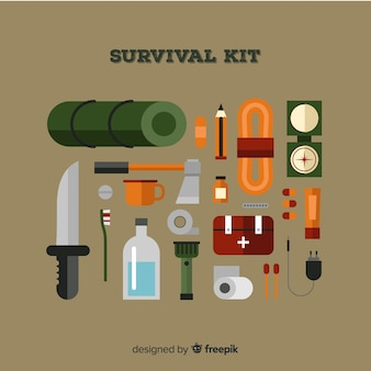 Trousse de survie d'urgence avec design plat