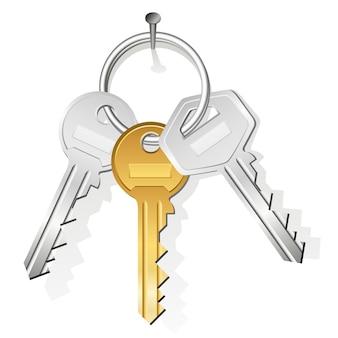 Trousseau de trois clés accroché à un clou