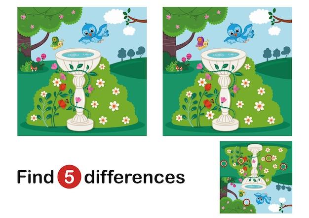 Trouver 5 différences jeu d'éducation pour les enfants vector illustration