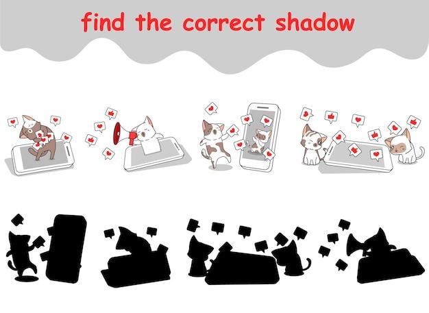 Trouver la bonne ombre de chats profite des médias sociaux via un téléphone intelligent