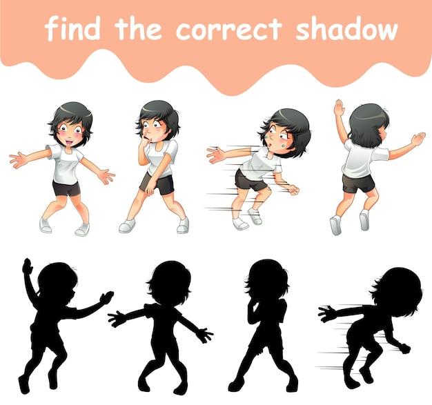 Trouver la bonne ombre du personnage de dessin animé de fille