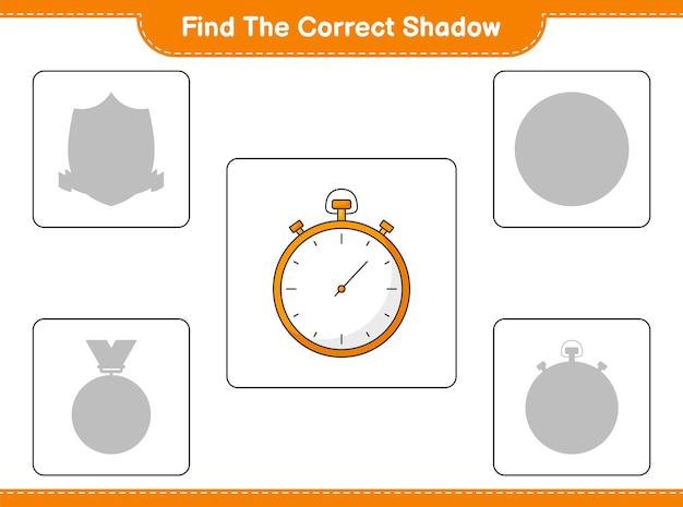 Trouver la bonne ombre. trouver et faire correspondre l'ombre correcte du chronomètre. jeu éducatif pour enfants