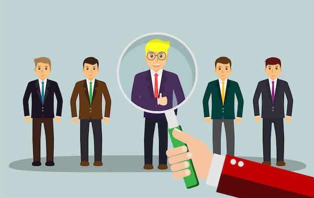 Trouver la bonne personne pour le concept d'emploi, homme d'affaires