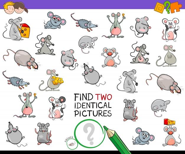 Trouver deux activités pédagogiques de souris identiques