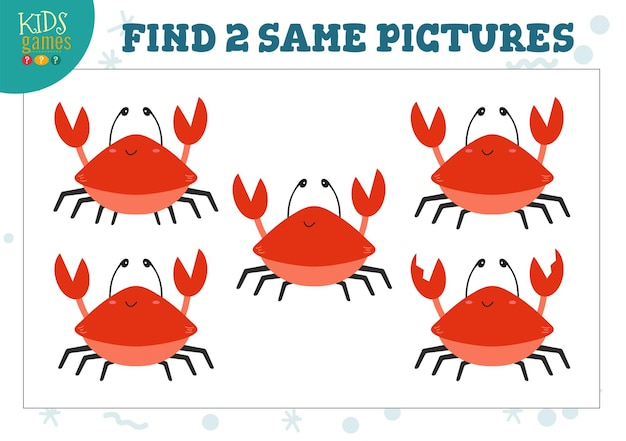 Trouver deux mêmes images illustration de jeu pour enfants activité pour les enfants d'âge préscolaire avec des objets correspondants et trouver 2 personnages de crabe de dessin animé identiques