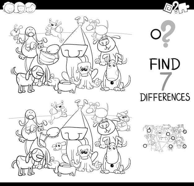 Trouver des différences avec les chiens livre de coloriage