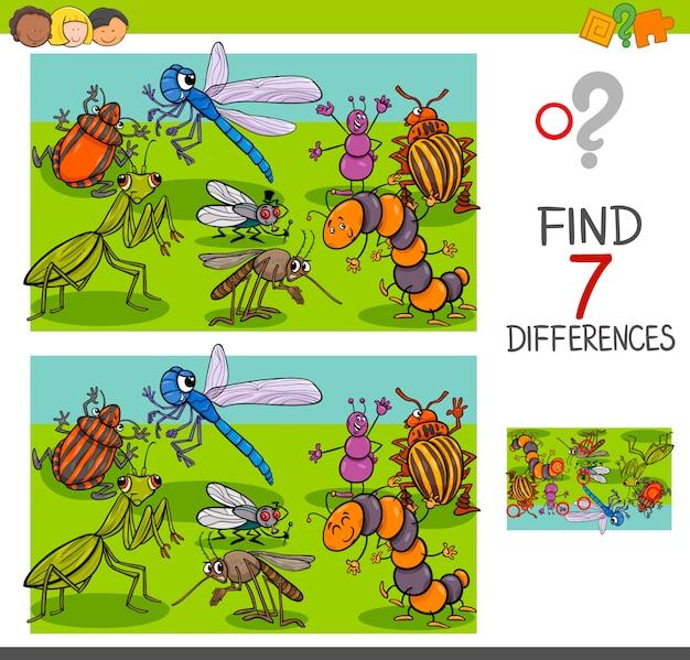 Trouver des différences avec les insectes groupe de caractères animaux