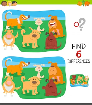 Trouver des différences jeu éducatif avec des chiens