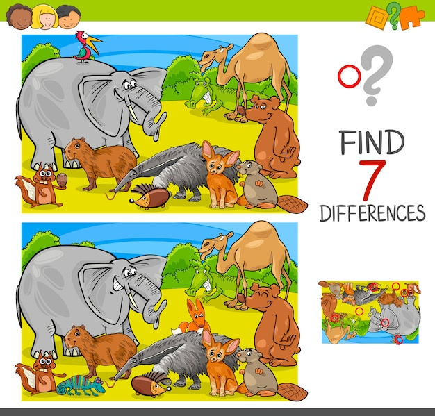 Trouver des différences jeu avec groupe de caractères animaux