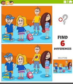 Trouver le jeu des différences avec des enfants d'âge élémentaire de dessin animé
