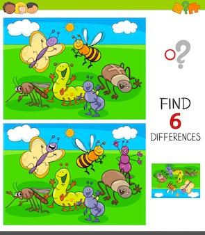 Trouver le jeu des différences avec des insectes animaux