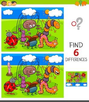 Trouver le jeu des différences avec des insectes
