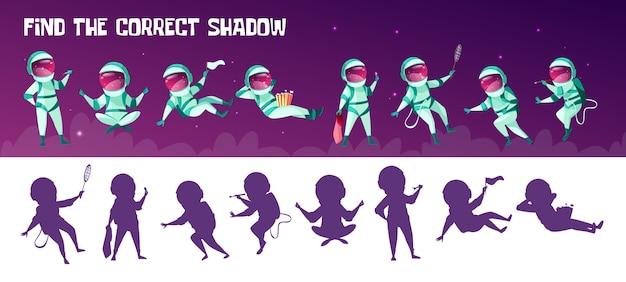 Trouver le jeu des enfants de l'éducation de l'ombre correcte. corriger le test de correspondance de la silhouette