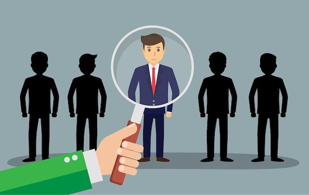 Trouver la personne pour l'occasion d'emploi, conception de vecteur d'homme d'affaires
