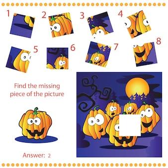 Trouver la pièce manquante - jeu de puzzle pour enfants avec des citrouilles