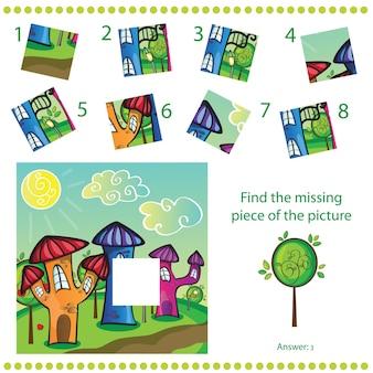 Trouver la pièce manquante - jeu de puzzle pour enfants - ville de dessin animé