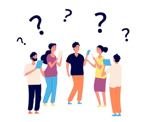 Trouver une solution. penser les gens, travailler en équipe. les personnes de vecteur pensent avec des points d'interrogation