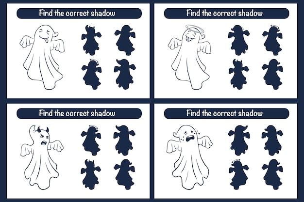 Trouvez le bon jeu éducatif de silhouette de fantômes pour les enfants. activité d'appariement d'ombres pour les enfants. style de bande dessinée. casse-tête préscolaire. fiche pédagogique. trouvez le bon jeu d'ombre. vecteur premium