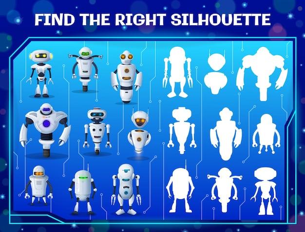 Trouvez le bon jeu de labyrinthe pour enfants silhouette de robot. énigme vectorielle de correspondance d'ombre avec des cyborgs ai de dessin animé. test de logique pour enfants avec des androïdes et des robots d'intelligence artificielle. tâche pour le développement de l'esprit de bébé
