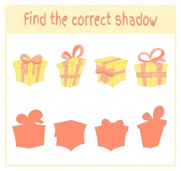 Trouvez le bon jeu d'ombre et d'éducation pour les enfants. cadeaux de noël