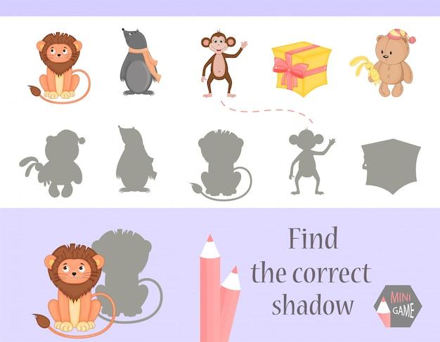 Trouvez le bon jeu d'ombre et d'éducation pour les enfants.