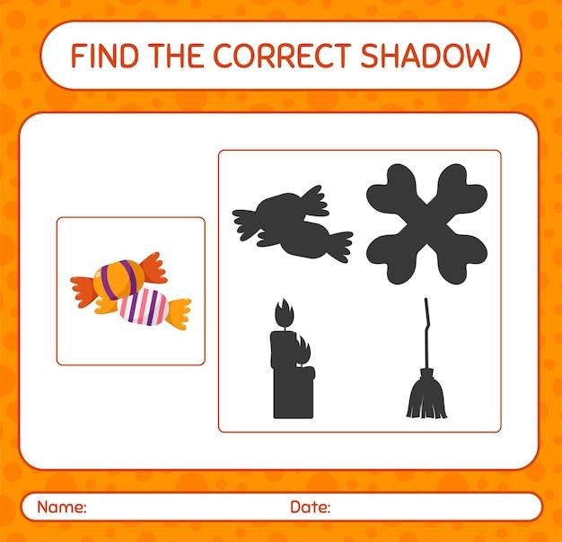 Trouvez le bon jeu d'ombres avec des bonbons. feuille de travail pour les enfants d'âge préscolaire, feuille d'activité pour enfants
