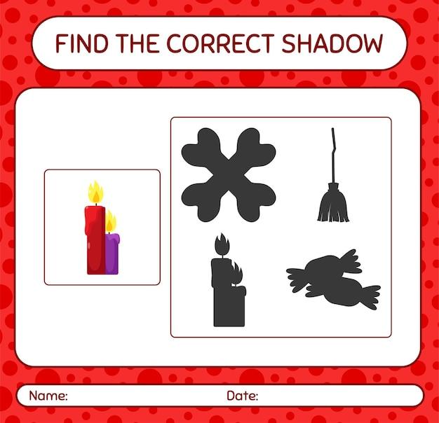 Trouvez le bon jeu d'ombres avec une bougie. feuille de travail pour les enfants d'âge préscolaire, feuille d'activité pour enfants