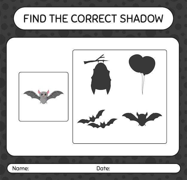 Trouvez le bon jeu d'ombres avec la chauve-souris. feuille de travail pour les enfants d'âge préscolaire, feuille d'activité pour enfants