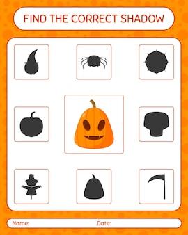 Trouvez le bon jeu d'ombres avec jack o' lanterne. feuille de travail pour les enfants d'âge préscolaire, feuille d'activité pour enfants