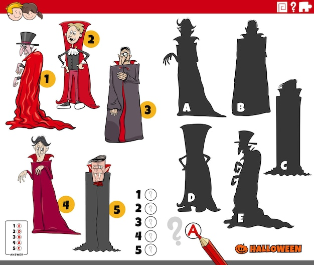 Trouvez le bon jeu d'ombres avec des personnages d'halloween de vampires de dessins animés