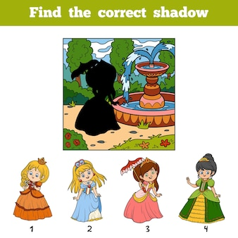 Trouvez la bonne image par ombre, jeu éducatif pour les enfants. princesse avec parapluie