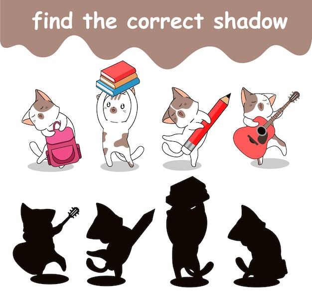 Trouvez la bonne ombre d'adorable chat de retour à l'école