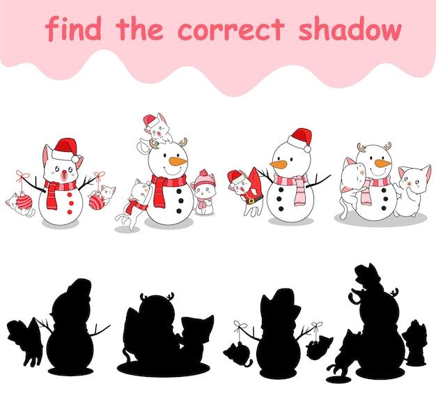 Trouvez la bonne ombre d'adorables chats et bonhomme de neige