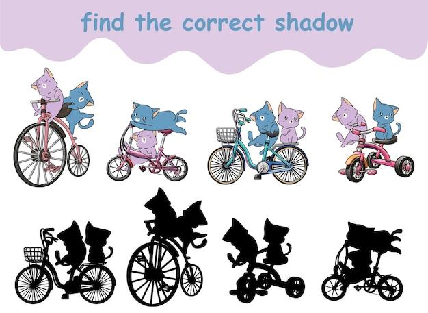 Trouvez la bonne ombre d'adorables chats à vélo